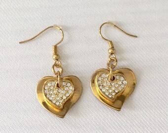 Heart Earrings Vintage Gold Tone Metal & Rhinestone Shepard  Hook Pierced Earrings -  Bride, Gift, Wedding, Mother of the Bride, Bridesmaids