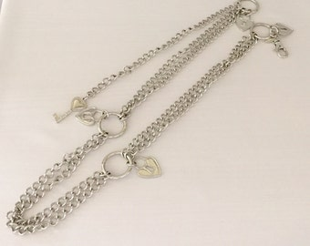 Vintage Silver Tone Metal Heart Lock and Skeleton Key Fashion Bel tStatement Necklace  - Silver Colored Chain Accessory