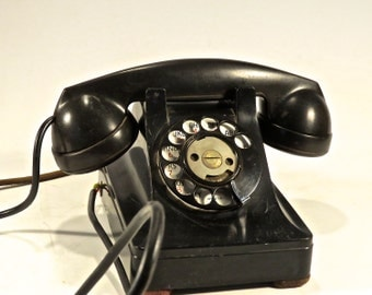 Vintage - 1930's - Black Western Electric Bell System Dial Telephone Desk Phone with F1W Handset
