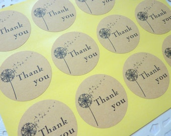 36 Brown Kraft Paper Round 'Thank you' Stickers with Dandelion 3.5cm