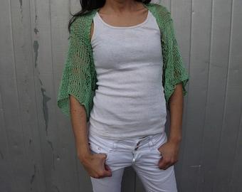 Pastel loose knit Shrug Summer Shrug Cotton shrug bolero cover up mint green shrug wraps