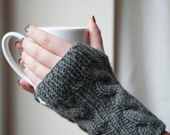 Woolen Knitted Cable Fingerless Gloves Wrist Warmers - Multiple Colours Available