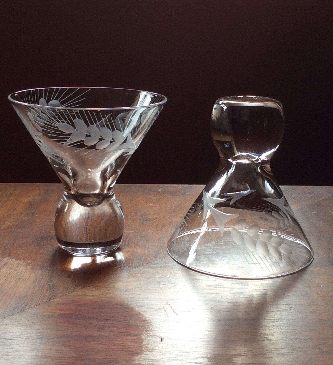 Vintage Small Cocktail Glasses Stemless Martini Whiskey