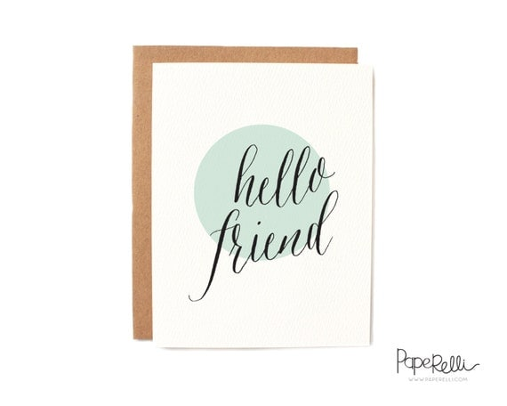 Hello Friend Card on Textured Paper with Kraft Envelope