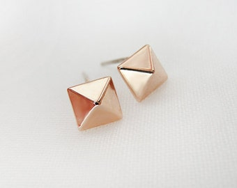 Rose Gold Pyramid Ear Studs