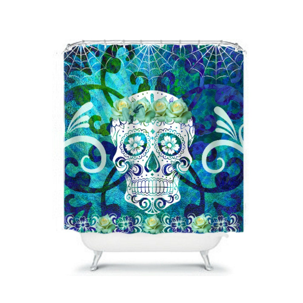 shower curtain sugar skull aqua teal blue green by folkandfunky. Black Bedroom Furniture Sets. Home Design Ideas