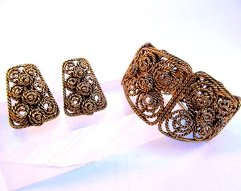 1950's Schiaparelli Gold Filigree Clip on Earrings and Clamp Cuff - Signed