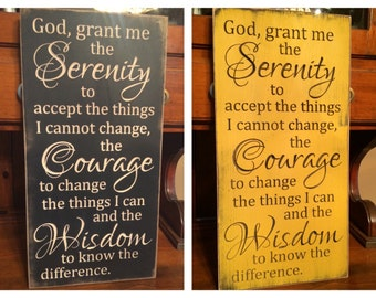 """Custom Carved Wooden Sign - """"Serenity Prayer - God Grant Me The Serenity To Accept The Things I Cannot Change ..."""""""