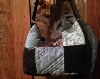Blues and Browns Quilted Purse