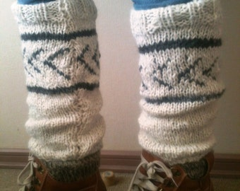 Alpaca Leggings - Handknit, white with stripes and designs in gray