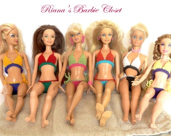 Made to Order Barbie Swimwear Bikini - Modern Swimsuit, Fashion Doll Clothes, Barbie Clothes Bathing Suit, Barbie Summer Wear, Doll Costume