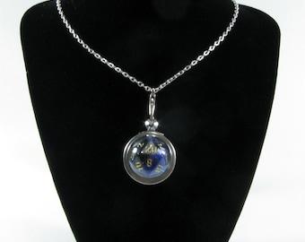 Blue and Black D20 Dice Pendant Necklace