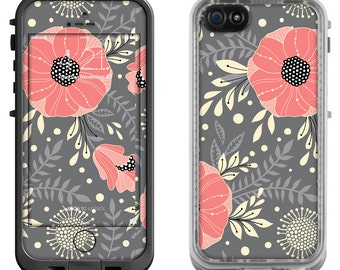 Salmon Pink Floral Print - Lifeproof iPhone 6 Fre Nuud, LifeProof iPhone 5 5S 5C Fre Nuud, Lifeproof iPhone 4 4S Fre Case Decal Skin Cover