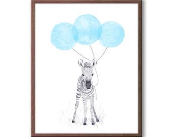 Baby Zebra Watercolor, Baby Boy Nursery Decor, Zebra Nursery Art, Blue and Gray Nursery, Safari Animal Art, Kids Wall Art, Z106WN