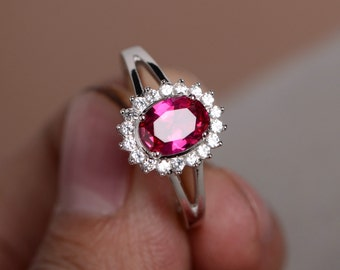 Red Ruby Ring Gemstone Sterling Silver Fine Ring Promise Ring for Her Wedding Ring Birthstone Ring