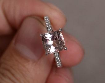Natural Morganite Ring Silver Pink Beryl Gemstone Ring Engagement Ring Promise Ring For Her Wedding Ring Birthstone Ring