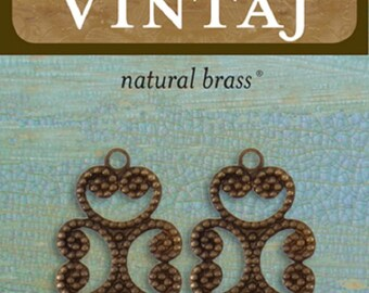 TWO Vintaj Etruscan Swirl Filigree 24.5x13.5mm in Natural Brass, Jewelry Making, Scrapbooking, C2H102
