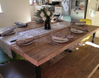 Industrial Mill Style Reclaimed Wood Small Dining Table and Benches