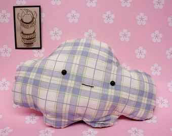 Kawaii Collectable Plush Pillow with Checker and Floral Design