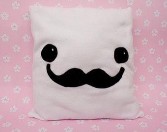 Unique Handmade Kawaii Gentlemen Tofu Pillow made from Fleece Fabric
