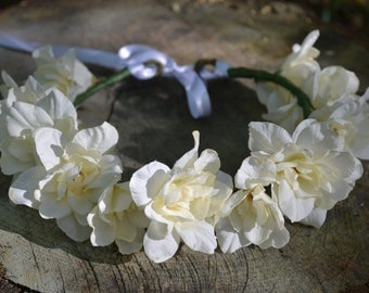 White flower crown / flower halo / floral headband/Bridal Crown/ Bridal Headpiece