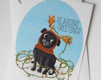 Seasons Greetings Pug Note Card