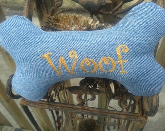 Stuffed Dog Bone, Upcycled Denim, Stuffed Dog Toy, Personalized Dog Toy