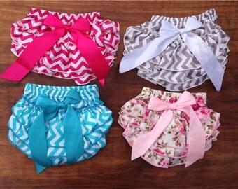Baby Girl Bloomers, Ruffle Diaper Covers, Ruffle Butt, Chevron Diaper Cover, Pink Blue Aqua Grey Chevron