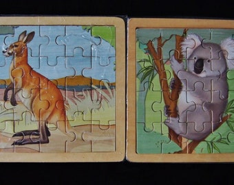 Animals of Australia wood brain teaser puzzles set of two - On SALE Now!