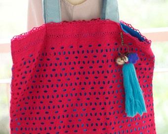 Bag pink handmade vintage  Cotton  Native Textile Striped(V027)