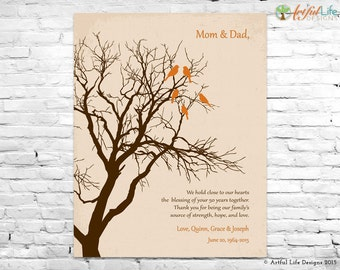 Personalized 50th ANNIVERSARY GIFT for Parents Grandparents, 50th GOLDEN Wedding Anniversary Gift, Family Tree Art, Parent Thank You Gift