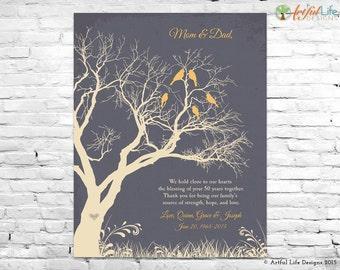 50th ANNIVERSARY GIFT Art Print, 50th GOLDEN Anniversary Sign, Anniversary Gift for Parents Grandparents, Family Tree Wall Art