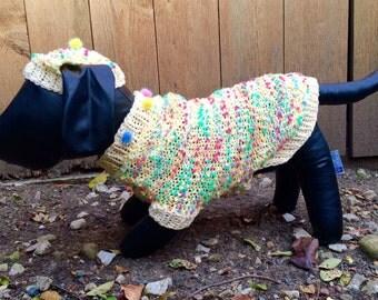 Knit Dog Sweater Hat Dachshund Unique Handmade Small Yellow Pompom Little Dog Sweater Handmade Dog Sweater Hat