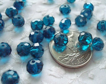 Full Strands Peacock Blue Rondelles. 2 Sizes. 8x6mm & 6x4mm. Deepest Aqua Blue Faceted Crystal Rondelles ~USPS Ship Rates from Oregon.
