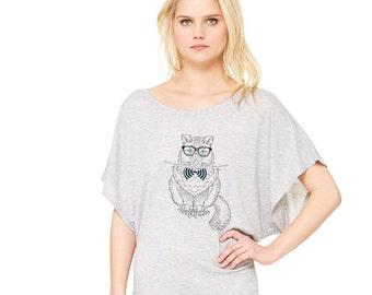 Cool Cat Lady Flowy Dolman