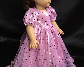 18 in. American Girl Doll Dress. Pink/purple shiny dress with matching head band