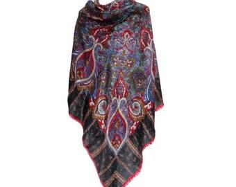 70s Bohemian  XLarge wool SHAWL // floral  Boho gypsy shawl