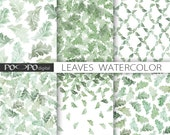 Leaves watercolor digital paper leaf scrapbooking paper green printable pattern nature commercial use instant download watercolour texture