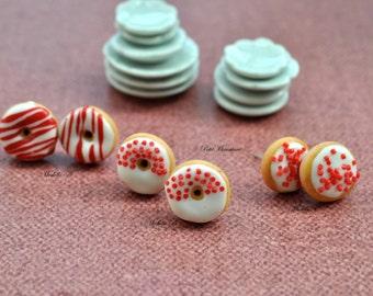 Earrings black forest sugary donut-Jewelry Earrings Polymer clay-lobo