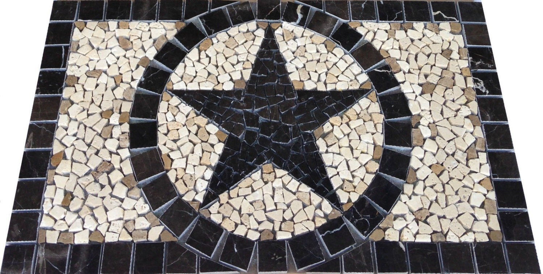BK Emperador Marble Texas Star Mosaic Backsplash Medallion
