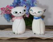 Vintage Holt Howard Cozy Cats Salt Pepper Shakers Boy Girl Set Collectible White Kitten Feline Japan 1959-1960