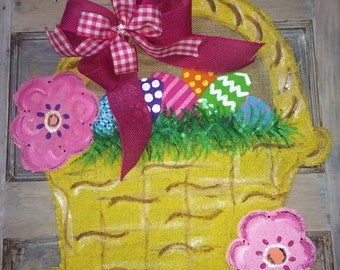 Easter Flower Basket Burlap Door Hanger