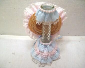 Wedding, Lace, Fascinator, Glass, Vase, Centerpiece, Pink, Blue, Decor, Decorative, Straw, Hat, Anniversary, Shower, Cottage, Chic, On, Gift