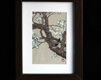 Vintage Japanese watercolour of bird & blossoms on rice paper