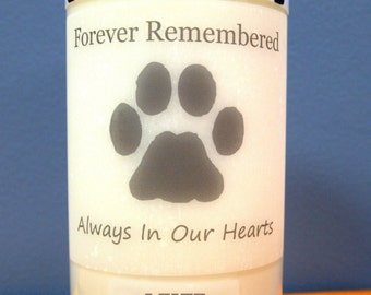 Pet Memorial Black White Pawprint  Soy Candle with Special Card & Choice of Poem