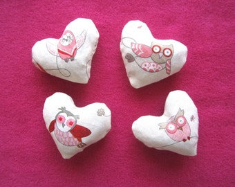 Set of 4 Small Lavender Heart Sachets in Charming Owl print
