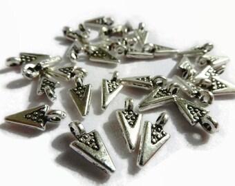 10 x Small Arrow Head Charms / Triangle Tribal Charms