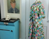 60s Housecoat / Robe, Quilted, Floral, with Circle Pockets and Original Belt