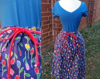60s Tulip Skirt Primary Color Tie Waist L/XL