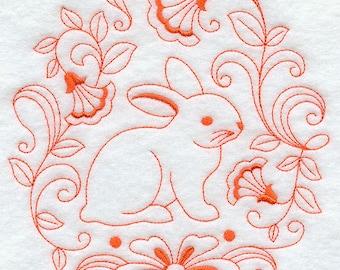 Easter Bunny Embroidered Kitchen Towel -Bunny towel -  Rabbit towel - Waffle Weave Tea Towel- Easter tea towel- Spring kitchen decor